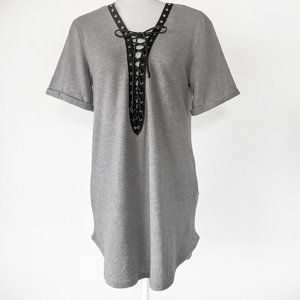 Emory Park Women's Soft Gray Lace Up Shirt
